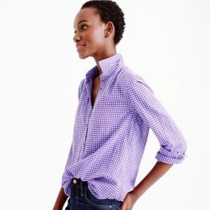 J. CREW Classic Purple Gingham Button Up Small